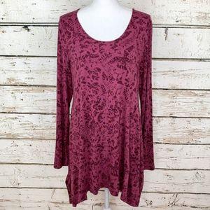 Soft Surroundings Floral Burgundy Rose Tunic Sz Lg